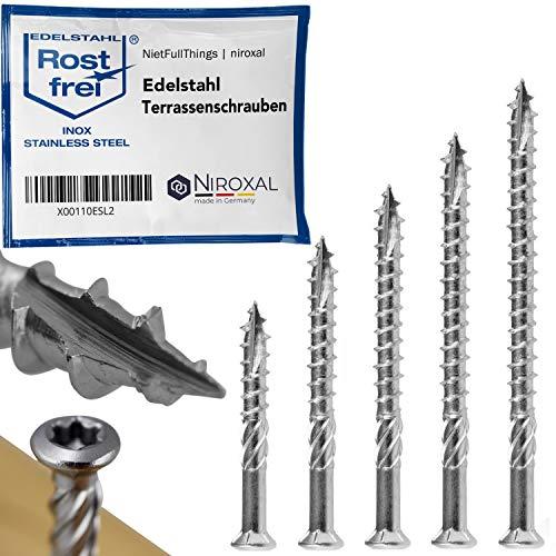Edelstahl Terrassen-Schraube TORX Schneidkerbe Linsenkopf und Schaelrippen aus C1 5-mm stark 50-mm Schrauben-Länge 25 Stück 32-mm Teil-Gewinde Holz-Schraube Terrassenschraube 5x50